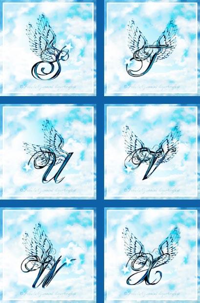 Alfabeto ali stilizzate: 6 maiuscole artistiche S-T-U-V-W-X