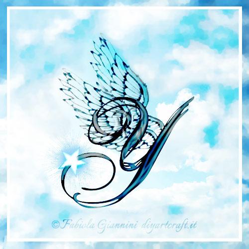 Lettera Y in stile corsivo stilizzata con le ali di profilo: elaborazione artistica.