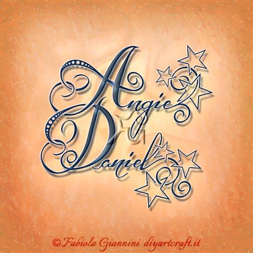 Tante stelle sui nomi femminili e maschili in coppia Angie e Daniel disegnati con lettere stilizzate.