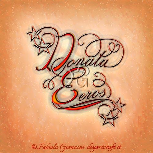 Donata e Eros nomi disegnati in coppia e intrecciati alle stelle in tattoo unisex.