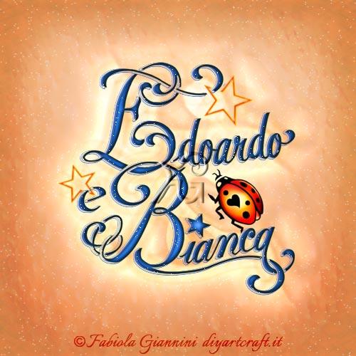 Coccinella e stelline tra le lettere stilizzate dei nomi disegnati in coppia Edoardo e Bianca tattoo a colori.