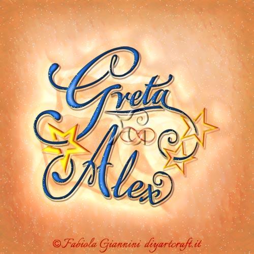 Linee intrecciate per i nomi disegnati in coppia Greta e Alex decorati da stelle dorate tattoo a colori.