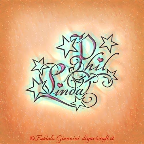 Stelle tra i nomi di disegnati in coppia Phil e Linda con lettere stilizzate e cuori.