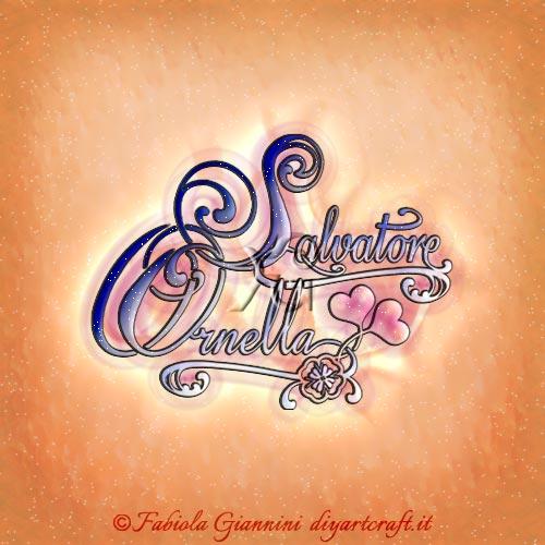 Cuori e quadrifoglio per i nomi femminili e maschili disegnati in coppia Salvatore e Ornella tattoo lettere stilizzate.