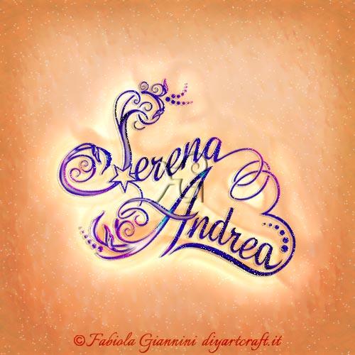 Nomi femminile e maschile disegnati in coppia con lettere stilizzate: Serena e Andrea con cuore stilizzato.
