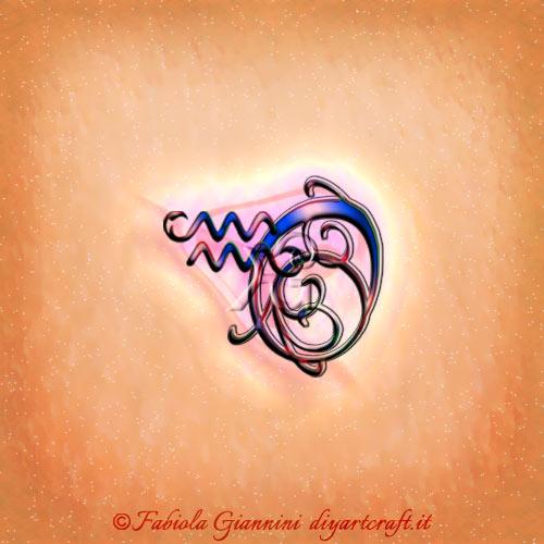 Lettera O disegnata in corsivo con riccioli e simbolo grafico del segno zodiacale Aquario in stile unisex.