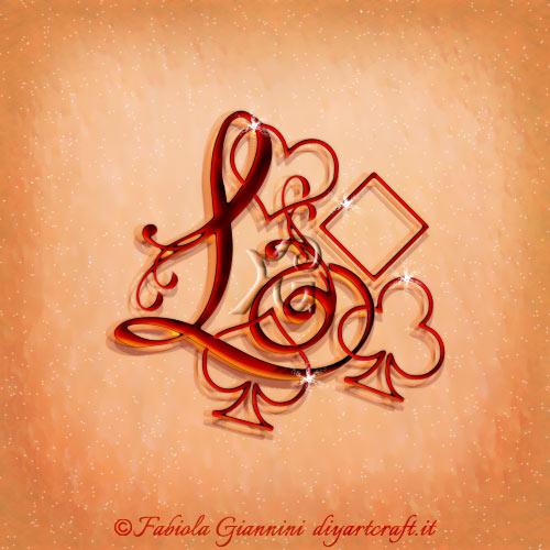 Maiuscola L disegnata in corsivo con i semi delle carte che circondano il carattere alfabetico.
