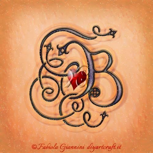 Un cuore rosso è incastonato nella grande maiuscola B stilizzata in corsivo antico.