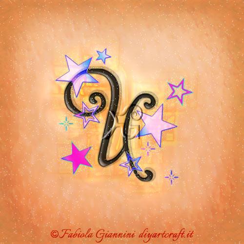 Disegno stilizzato della maiuscola U con molte stelle colorate.