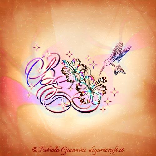 Fiori di hibiscus e colibrì: illustrazione decorativa lettere BE e simbolo infinito grafico.
