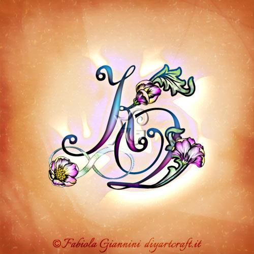 Acronimo floreale KQ intrecciato al simbolo infinito dai tenui colori.