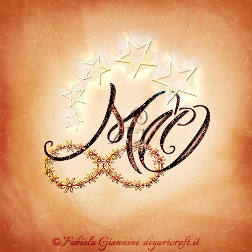 Monogramma MO con stelle sulle lettere intrecciate al simbolo infinito stilizzato con piccole margherite.