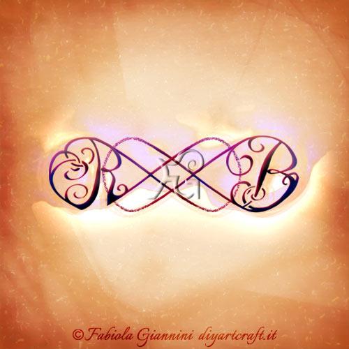 Simbolo infinito doppio con lettere corsive RB posizionate ai lati opposti del disegno grafico.