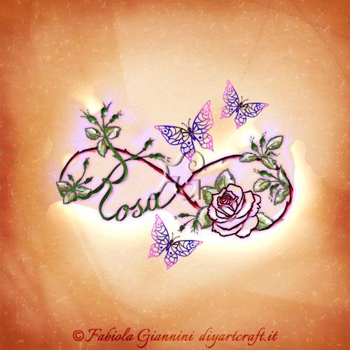 Simbolo infinito in stile floreale con il nome Rosa scritto in corsivo. Illustrazione con farfalle stilizzate.