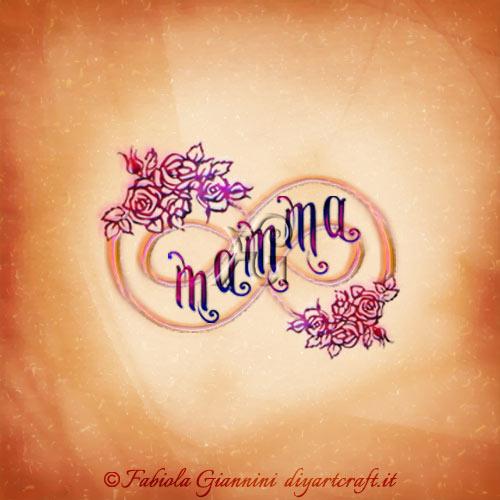 Fiori stilizzati sulle linee del simbolo infinito dove è scritta la parola mamma.