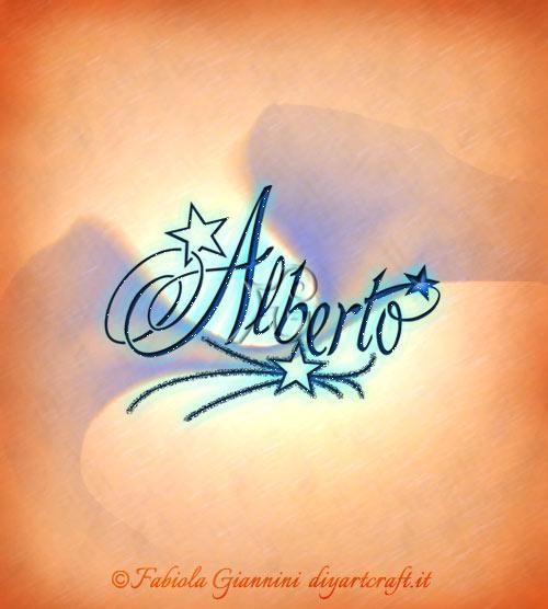Composizione elegante in stile calligrafico: nome Alberto tra le stelle.