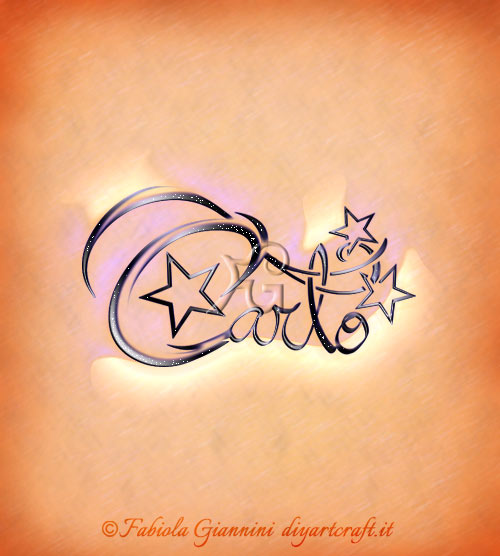 Scrittura calligrafica con decorazione di stelle: nome per uomini Carlo con 3 stelle.