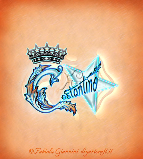 Elaborazione artistica con corona e stella sul nome per uomini Costantino.