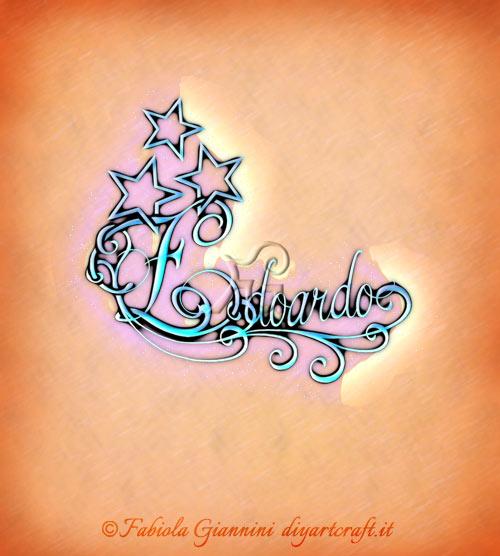 Soggetto decorativo con riccioli e stelle: nome maschile Edoardo.