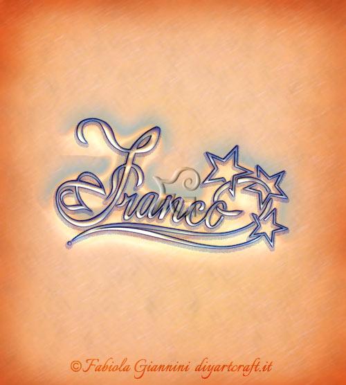 Illustrazione decorativa con stelle scontornate: nome maschile Franco.