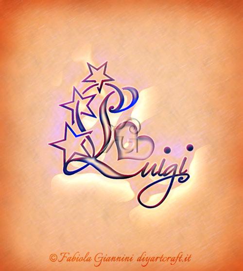 Stelle grafiche sulla iniziale maiuscola del nome Luigi: disegno stilizzato di un cuore tra le lettere.
