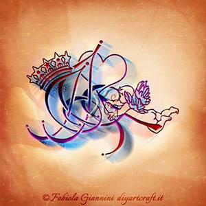 Fregio elegante formato da 3 simboli grafici adatti al tattoo: angelo, corona e cuore per mimetizzare le lettere AJJ.