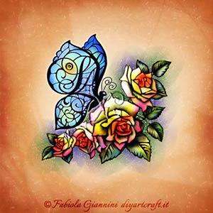 Rose primaverili attraggono una farfalla che ha nelle ali le lettere nascoste SAF disegno con simboli grafici a colori.