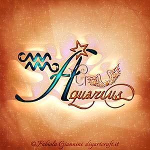 Aquarius: definizione del segno di aria dello zodiaco scritto in stile corsivo con simboli grafici.