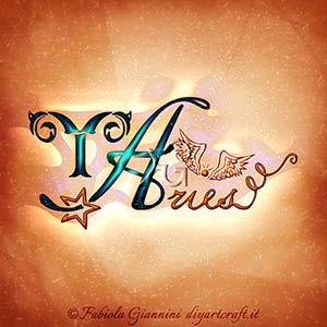 Aries: elaborazione artistica del segno zodiacale di fuoco in stile calligrafico con simboli grafici.