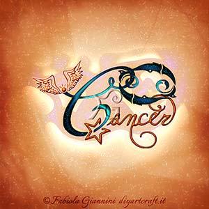 Cancer: simbolo grafico del segno zodiacale di acqua e nome disegnato in stile calligrafico.