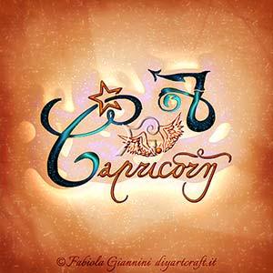 Capricorn: segno di terra dello zodiaco disegnato in stile calligrafico.