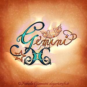 Gemini: nome del segno di aria dello zodiaco con caratteri corsivi in stile calligrafico.
