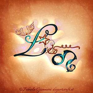 Leo: definizione del segno zodiacale di fuoco in lingua inglese elaborato insieme al simbolo grafico.