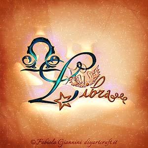 Libra: nome del segno zodiacale di aria disegnato in stile calligrafico con una grande iniziale maiuscola corsiva.