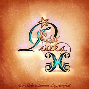 Pisces: segno di acqua dello zodiaco disegnata in lingua inglese con caratteri corsivi e simboli grafici.