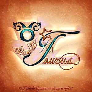 Taurus: parola in lingua inglese per definire il segno zodiacale di terra con il simbolo grafico e altri elementi decorativi.