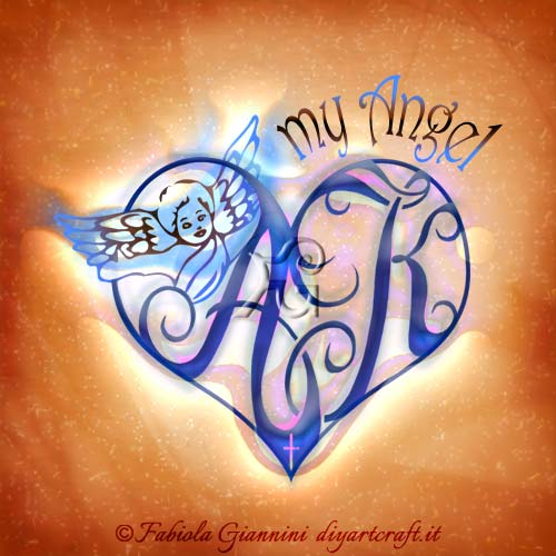 Lettere intrecciate AK dentro un grande cuore con angelo alato e scritta in lingua inglese: My Angel.