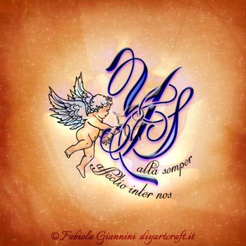 Frase latina destinata ad un angelo defunto rappresentato dal monogramma YS: Alta semper affectio inter nos. Nel disegno è presente un grande angelo alato che sostiene le lettere intrecciate.